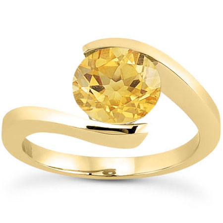 5a60134c234 Tension-Set Bright Yellow Citrine Ring, 14K Yellow Gold