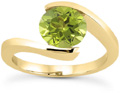 Tension-Set Green Peridot 1 Carat Ring, 14K Yellow Gold