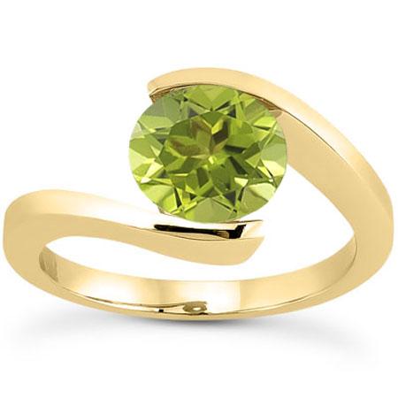 Tension-Set Green Peridot 1 Carat Ring, 14K Yellow Gold