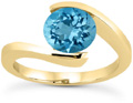 Tension-Set Swiss Blue Topaz Ring, 14K Yellow Gold