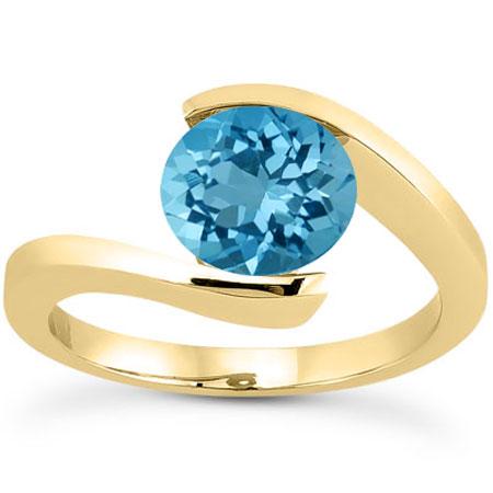 Tension-Set Swiss Blue Topaz Ring, 14K Yellow Gold