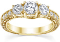 0.94 Carat Three-Stone Floral-Carved Diamond Engagement Ring, 14K Yellow Gold