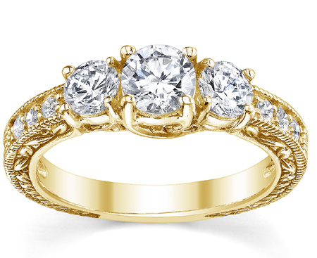 1 Carat Antique-Style Three Stone Diamond Engagement Ring, 14K Yellow Gold