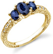 Three Stone Oval Blue Sapphire Engraved Design Ring, 14K Yellow Gold