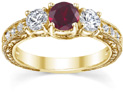 Three-Stone Ruby and Diamond Floral-Etched Engagement Ring, 14K Yellow Gold