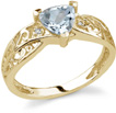 Trillion-Cut Aquamarine Ring with Diamonds in 14K Yellow Gold