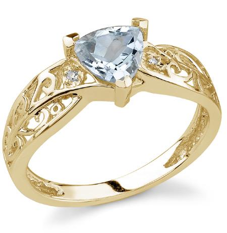 Trillion-Cut Aquamarine Ring with Diamonds in 14K Yellow Gold