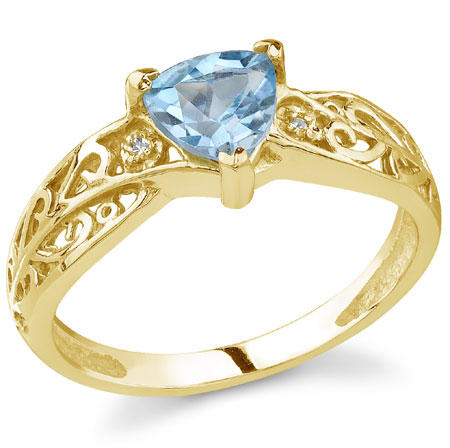Trillion-Shaped Swiss Blue Topaz and Diamond Ring, 14K Yellow Gold