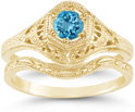 Victorian-Era Swiss Blue Topaz Wedding and Engagement Bridal Ring Set, 14K Yellow Gold