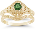Victorian-Period Antique-Style Emerald Wedding and Engagement Ring Set, 14K Yellow Gold