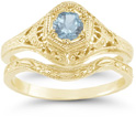 Victorian-Period Aquamarine Wedding Ring Engagement Set, 14K Yellow Gold