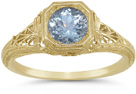Vintage Period Lattice Design Filigree Aquamarine Ring in 14K Yellow Gold