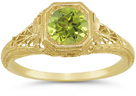 Vintage-Style Filigree Light Green Peridot Ring in 14K Yellow Gold
