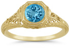 Vintage Style Filigree Swiss Blue Topaz Ring in 14K Yellow Gold