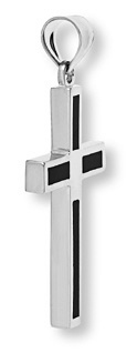 White Gold Onyx Cross Pendant