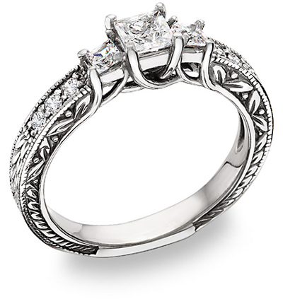 princess-cut three stone diamond engagement ring