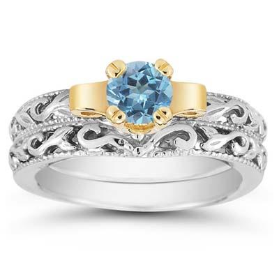 Apples of Gold 1 Carat Art Deco Blue Topaz Bridal Ring Set, 18K Two-Tone Gold at Sears.com