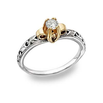 Apples of Gold Art Deco 1 Carat CZ Ring, 14K Two-Tone Gold at Sears.com
