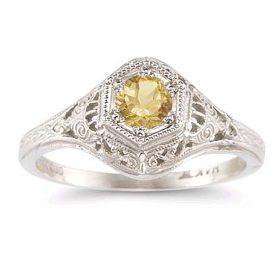 Apples of Gold Enchanted Citrine Ring in 14K White Gold at Sears.com