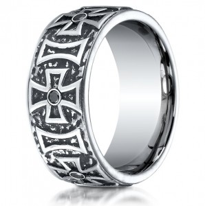 black cobalt cross wedding band
