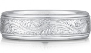 paisley engraved wedding band