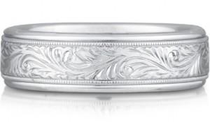 paisley engraved wedding band