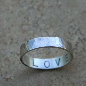 sterling silver love wedding band