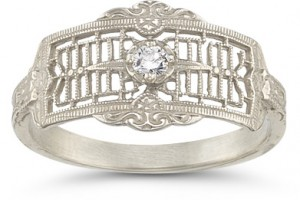 Vintage filigree diamond wedding band