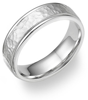 18k white gold hammered wedding band ring