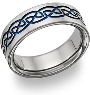 blue celtic titanium wedding band