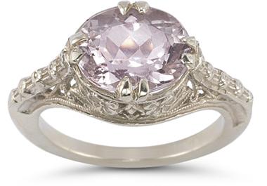 silver vintage gemstone rings kunzite