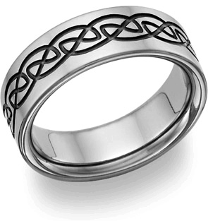 black titanium celtic wedding band ring