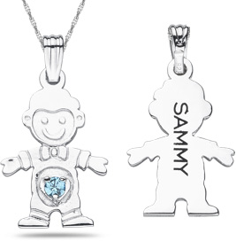 personalized boy gemstone pendant engraveable
