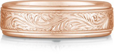 pink gold paisley wedding band