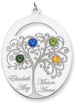 silver family tree pendant