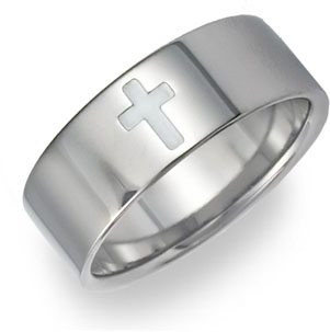titanium cross wedding band