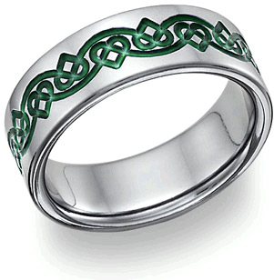 Titanium Irish Green Celtic Heart Love Knot Wedding Band Ring