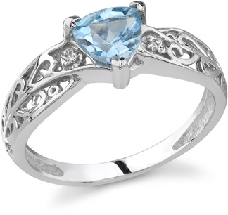 trillion blue topaz diamond ring