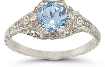 vintage floral blue topaz ring white gold