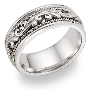 white gold paisley wedding band