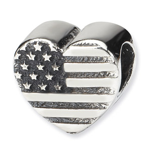 american flag heart bead silver