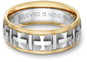 cross bible verse wedding band ring