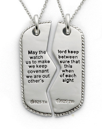 military dog tag pendant with prayer for two