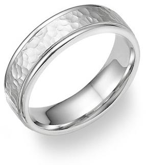 platinum hammered wedding band ring