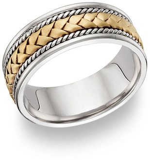 two tone gold braided wedding band ring
