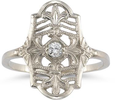 vintage fleur de lis white topaz ring