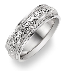 white gold paisley wedding band ring