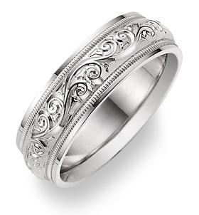 white gold paisley wedding band ring
