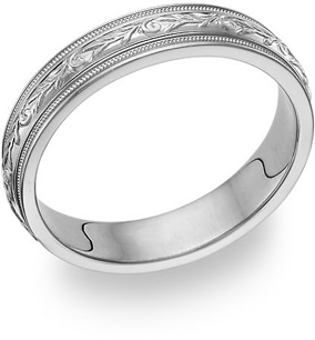 white gold paisley wedding band ring for women