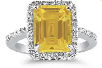 citrine and diamond ring white gold